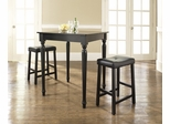 3-Piece Pub Dining Set with Turned Leg and Upholstered Saddle Stools in Black Finish - Crosley Furniture - KD320012BK