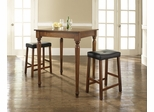 3-Piece Pub Dining Set with Turned Leg and Upholstered Saddle Stools in Classic Cherry Finish - Crosley Furniture - KD320012CH
