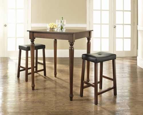 3-Piece Pub Dining Set with Turned Leg and Upholstered Saddle Stools in Vintage Mahogany Finish - Crosley Furniture - KD320012MA