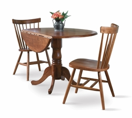 "3-Piece Set - 42"" Dual Drop Leaf Table with 2 Copenhagen Chairs in Soft Cherry - K00-42DP-C385-2"