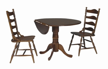 "3-Piece Set - 42"" Dual Drop Leaf Table with 2 Country Cottage Chairs in Cottage Oak - K48-42DP-C37-2"