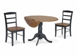 "3-Piece Set - 42"" Dual Drop Leaf Table with 2 Madrid Chairs in Black / Cherry - K57-42DP-C2P-2"