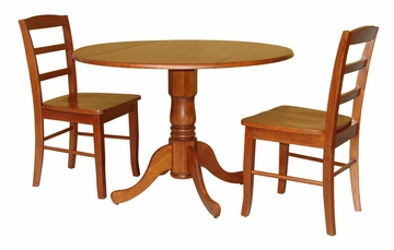 "3-Piece Set - 42"" Dual Drop Leaf Table with 2 Madrid Chairs in Cottage Oak - K48-42DP-C2P-2"