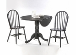 "3-Piece Set - 42"" Dual Drop Leaf Table with 2 Windsor Chairs in Black - K46-42DP-C212-2"