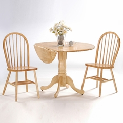 "3-Piece Set - 42"" Dual Drop Leaf Table with 2 Windsor Chairs in Natural - K01-42DP-C212-2"