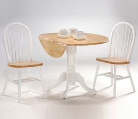 "3-Piece Set - 42"" Dual Drop Leaf Table with 2 Windsor Chairs in White / Natural - K02-42DP-C212-2"