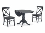 "3-Piece Set - 42"" Dual Drop Leaf Table with 2 X-Back Chairs in Black - K46-42DP-C613-2"