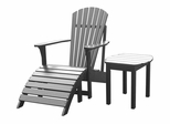 3-Piece Set - Adirondack Chair with Footrest and Side Table in Black - K-51902-CTS-0