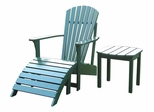 3-Piece Set - Adirondack Chair with Footrest and Side Table in Hunter Green - K-51901-CTS-0