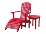3-Piece Set - Adirondack Chair with Footrest and Side Table in Red - K-92248-CTS-0