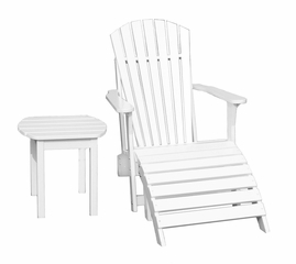 3-Piece Set - Adirondack Chair with Footrest and Side Table in White - K-51900-CTS-0