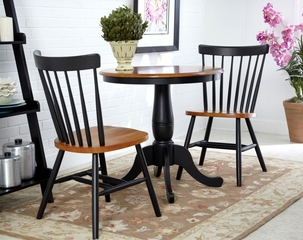 3-Piece Set - Round Table with 2 Chairs in Black / Cherry - K57-30RT-385