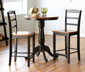 3-Piece Set - Round Table with 2 Stools in Black / Cherry - K57-30RT-6B-402