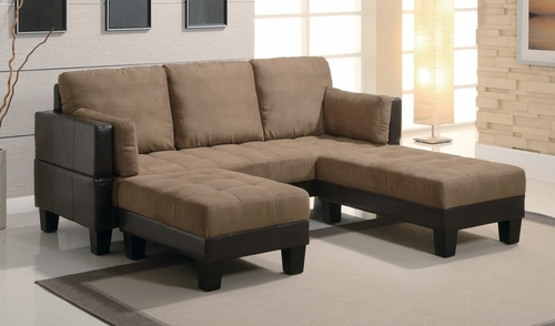 3-Piece Sofa Bed Set in Tan Microfiber / Brown Vinyl Base - Coaster - 300160