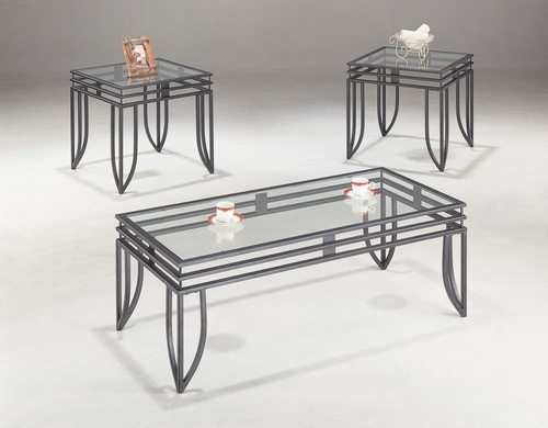 3 Piece Table Set in Black - Coaster