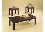 3 Piece Table Set in Black Oak Veneer - Coaster