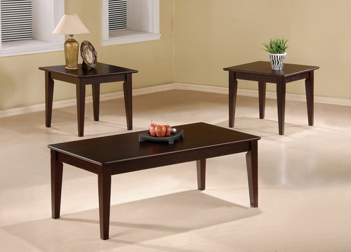 3 Piece Table Set in Cappuccino - Coaster - COAST-158801