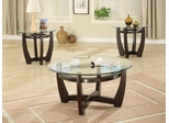3 Piece Table Set in Cappuccino / Glass Top - Coaster