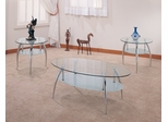 3 Piece Table Set in Chrome / Glass - Coaster