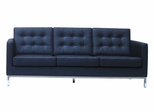 3-Seater Leather Sofa in Black - FF08-3-BK