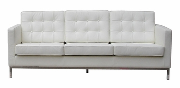 3-Seater Leather Sofa in White - FF08-3-WHITE
