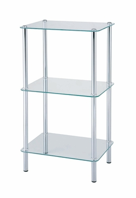 3-Tier Glass Shelf in Chrome / Tempered Glass - 19U34