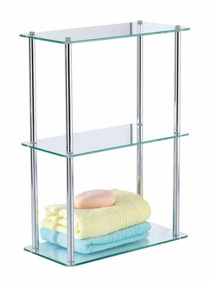 3-Tier Vanity Shelf in Chrome / Tempered Glass - 3263A