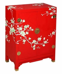 "30"" Contemporary Storage Cabinet / End Table with Painted White Blossoms in Red / White - frc1196"