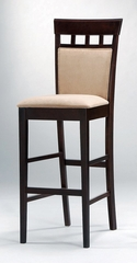 30 Inch Bar Stool with Upholstered Back (Set of 2) in Rich Cappuccino - Coaster