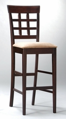 30 Inch Bar Stool with Wheat Back Design (Set of 2) in Rich Cappuccino - Coaster