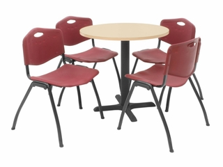 "30 Inch Round Table and 4 ""M"" Stack Chairs Set - TBR30BESC47"