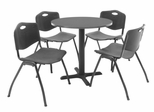 "30 Inch Round Table and 4 ""M"" Stack Chairs Set - TBR30GYSC47"