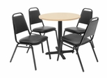 30 Inch Round Table and 4 Restaurant Stackers Set - TBR30BESC29BK