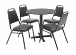 30 Inch Round Table and 4 Restaurant Stackers Set - TBR30GYSC29BK