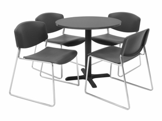 30 Inch Round Table and 4 Zeng Stack Chairs Set - TBR30GYSC44
