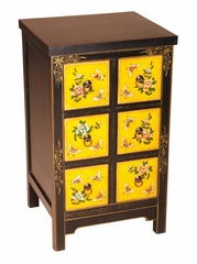 "30"" Painted Chinese Curio / Storage Cabinet in Black / Yellow - frc1086"