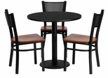 30'' Round Black Laminate Table Set with 3 Metal Chairs - MD-0007-GG