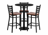 30'' Round Black Table Set with 3 Cherry Wood Seat Metal Bar Stools - MD-0013-GG
