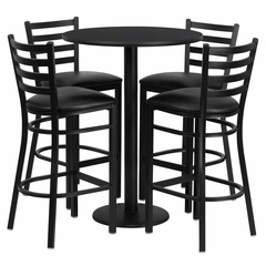30'' Round Black Table Set with 4 Black Vinyl Seat Metal Bar Stools - RSRB1021-GG