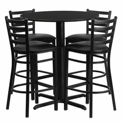 30'' Round Black Table Set with 4 Ladder Back Black Vinyl Seat Bar Stools - HDBF1021-GG