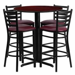 30'' Round Mahogany Table and 4 Burgundy Vinyl Seat Ladder Back Bar Stools - HDBF1026-GG
