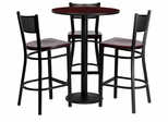 30'' Round Mahogany Table Set with 3 Grid Back Metal Bar Stools - Mahogany Wood Seat - MD-0017-GG