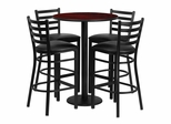 30'' Round Mahogany Table Set with 4 Black Vinyl Seat Metal Bar Stools - RSRB1022-GG