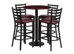 30'' Round Mahogany Table Set with 4 Burgundy Vinyl Seat Metal Bar Stools - RSRB1026-GG