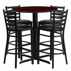 30'' Round Mahogany Table Set with 4 Ladder Back Black Vinyl Seat Bar Stools - HDBF1022-GG