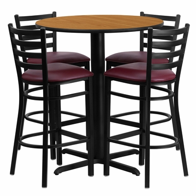 30'' Round Natural Table and 4 Burgundy Vinyl Seat Ladder Back Bar Stools - HDBF1027-GG