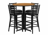 30'' Round Natural Table Set with 4 Ladder Back Black Vinyl Seat Bar Stools - HDBF1023-GG