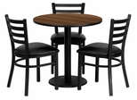 30'' Round Walnut 4PC Table Set with 3 Black Vinyl Seats - MD-0002-GG