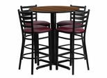 30'' Round Walnut Table and 4 Burgundy Vinyl Seat Ladder Back Bar Stools - HDBF1028-GG
