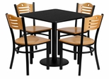 30'' Square Black Laminate Table Set with 4 Wood Slat Back Metal Chairs - MD-0010-GG
